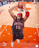 Vince Carter New Jersey Nets - Dunking in Blue Jersey Autographed Photo (Hand Signed Collectable)