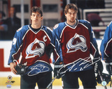 Joe Sakic and Peter ForSuper Bowlerg Colorado Avalanche Autographed Photo (Hand Signed Collectable)