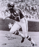 Gale Sayers Chicago Bears Black and White  with HOF '77 Inscription