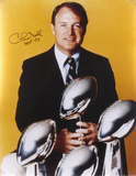 Chuck Noll Steelers 4 Super Bowl Trophies with HOF 93 Autographed Photo (Hand Signed Collectable)
