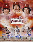 Phillies 1980 WS Collage Pete Rose, Carlton and Schmidt Autographed Photo (Hand Signed Collectable)