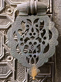 Bronze Knocker on Wooden Engraved Doors, Reales Alcazares, Seville, Andalucia, Spain, Europe