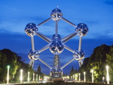 1958 World Fair, Atomium Model of An Iron Molecule, Illuminated at Night, Brussels, Belgium, Europe