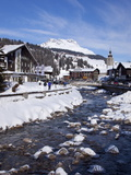 River and Village Church Lech, Near St. Anton Am Arlberg in Winter Snow, Austrian Alps
