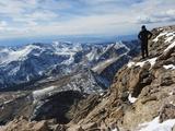 Hiker on Longs Peak Trail, Rocky Mountain National Park, Colorado, USA