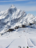 Skiers, Mountain Scenery in Cervinia Ski Resort, Cervinia, Valle D'Aosta, Italian Alps, Italy