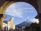 Cathedral and Volcan De Agua, 3765M, Antigua, Guatemala, Central America