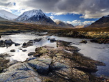 View Over River Etive Towards Snow-Capped Mountains, Rannoch Moor, Near Fort William, Scotland
