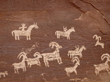 Bighorn Hunt Petroglyph Panel, Arches National Park, Utah, USA