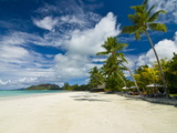 Beach Bungalows at Beach of Anse Volbert, Praslin, Seychelles, Indian Ocean, Africa