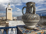 Minaret of the Great Mosque (Jamaa El Zitouna ) and Local Pottery, Medina, Tunis, Tunisia
