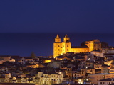 Norman Cathedral Lit Up at Dusk, Cefalu, Sicily, Italy, Mediterranean, Europe