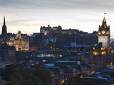 Cityscape at Dusk Looking Towards Edinburgh Castle, Edinburgh, Scotland, Uk