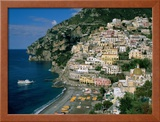 Amalfi Coast, Coastal View and Village, Positano, Campania, Italy Framed Photographic Print