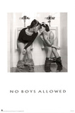 No Boys Allowed Two Hot Girls in the Men's Room Sexy Photo Poster Print