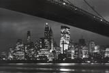 New York City (Brooklyn Bridge & Skyline at Night) Art Poster Print Poster