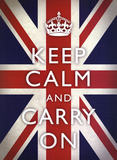 Keep Calm and Carry On (Motivational, Union Jack Flag) Art Poster Print