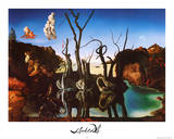 Salvador Dali Swans Reflecting Elephants White Border Art Print Poster