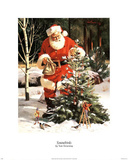Santa Claus Tree in Snow Art Print Poster