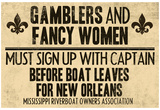 Gamblers and Fancy Women Sign Up Vintage New Orleans Poster