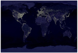 Earth By Night (Satellite View) Art Poster Print