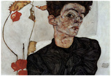Egon Schiele (Self-portrait with fruit Lampion) Art Poster Print