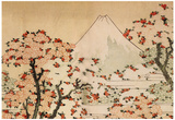 Katsushika Hokusai Mount Fuji Behind Cherry Trees and Flowers Art Poster Print