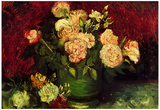 Vincent Van Gogh Bowl with Peonies and Roses Art Print Poster