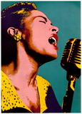 Billie Holiday Blue Pop Art Music Poster Poster