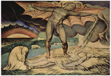 William Blake (Satan pours on the plagues of Job) Art Poster Print