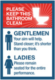 Clean Bathrooms Ladies Gentlemen Sign Art Print Poster Poster