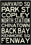 Boston MBTA Stations Vintage Subway RetroMetro Travel Poster Poster