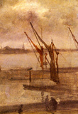 James Whistler Dockyard of Chelsea Grey and Silver Art Print Poster