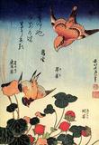 Katsushika Hokusai Wild Strawberries and Birds Art Poster Print