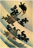 Katsushika Hokusai Turtles Swimming Art Poster Print