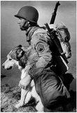 Soldier and Sled Dog 1942 Archival Photo Poster