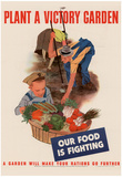 Plant a Victory Garden Our Food is Fighting WWII War Propaganda Art Print Poster