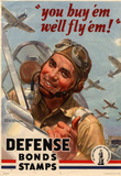 You Buy Em We'll Fly Em Defense Bonds Stamps WWII War Propaganda Art Print Poster