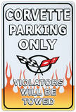 Chevrolet Chevy Corvette Parking Only Tin Sign