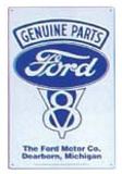 Genuine Ford Parts V-8 Tin Sign