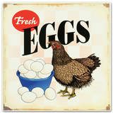 Fresh Eggs Hen Chicken Distressed