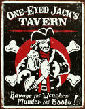 One Eyed Jack's Tavern Distressed Tin Sign