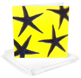 Starfish Indigo Blue on Yellow Greeting Cards 12 Per Package