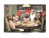 A Bold Bluff Dogs Playing Poker
