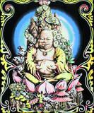 Buddha Blacklight Reactive Cloth Wall Hanging
