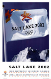 Salt Lake City 2002 Olympics Flag over Mountains