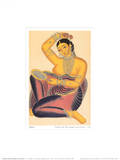 Kalighat Courtesan with Mirror Putting a Rose in Her Hair Art Print