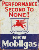 Mobil Gas Gasoline Performance Second to None Tin Sign