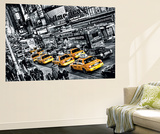 New York City Cabs Queue by Michael Feldmann Mini Mural Huge Poster Art Print Wall Mural