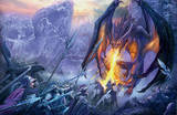 Dragon Attack at the Gorge Fantasy Art Print Poster